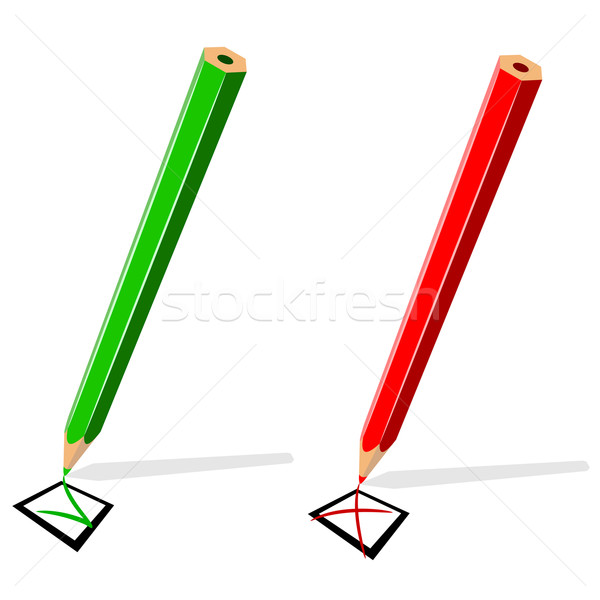 Pencil drawing green tick and red cross isolated on white backgr Stock photo © tuulijumala