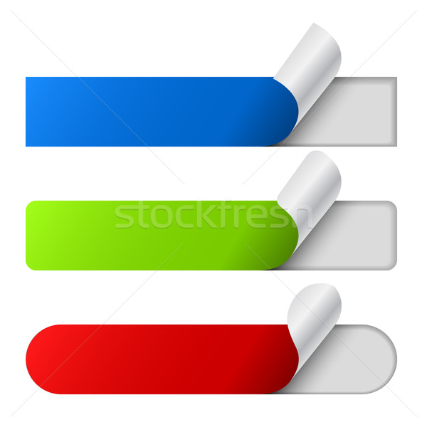 Peeling color labels set isolated on white background. Stock photo © tuulijumala