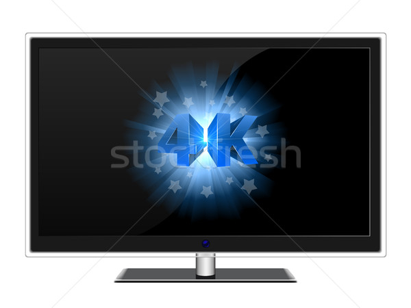 Modern widescreen TV with blue 4K sign on black screen vector te Stock photo © tuulijumala