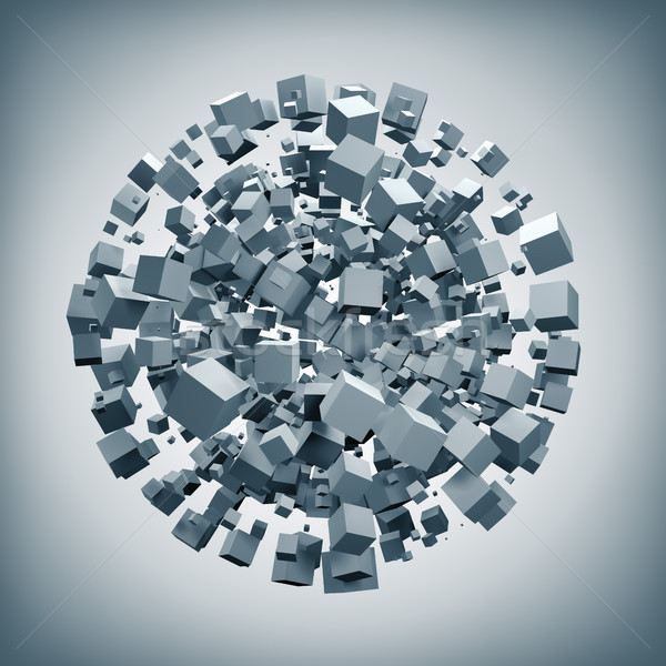 White cubes explosion forming sphere shape 3D rendering backgrou Stock photo © tuulijumala