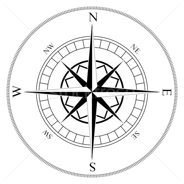 Stock photo: Compass winds rose black and white vector shape.