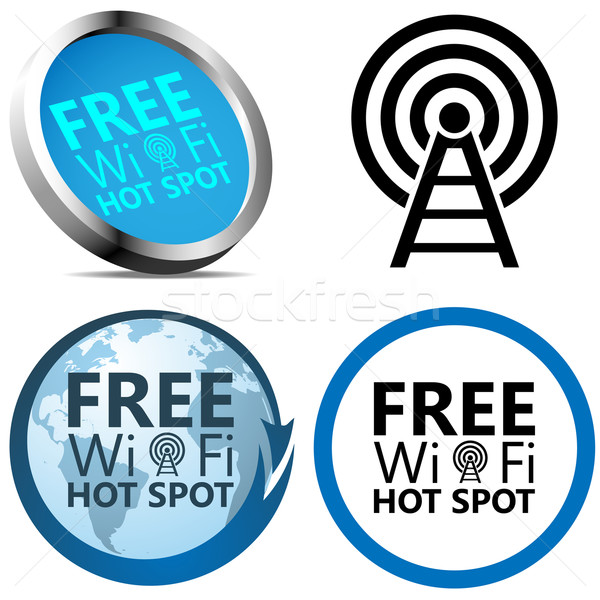 Free Wi-Fi Internet access signs isolated on white background. Stock photo © tuulijumala