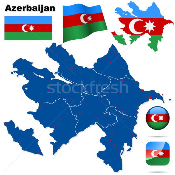 Сток-фото: Азербайджан · вектора · набор · подробный · стране · форма