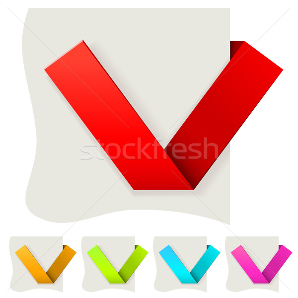 Folded paper tick vector template with several color variants. Stock photo © tuulijumala