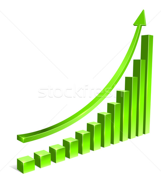 Green bar increasing graph with arrow vector template. Stock photo © tuulijumala