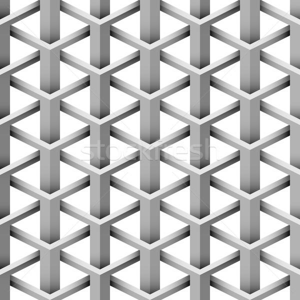 Sem costura 3D ilusão triângulo vetor padrão Foto stock © tuulijumala