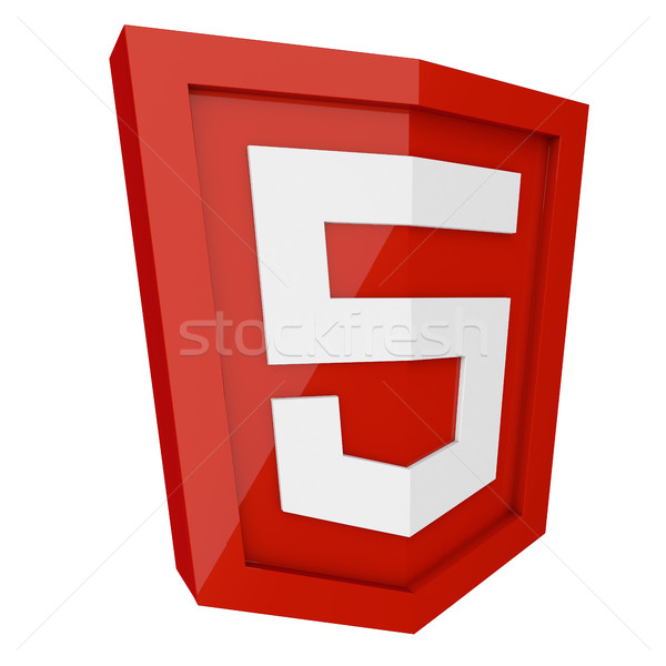 HTML 5 3D red sign isolated on white background. Stock photo © tuulijumala