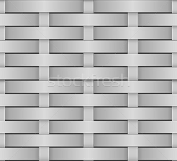 Wicker seamless pattern greyscale vector texture. Stock photo © tuulijumala