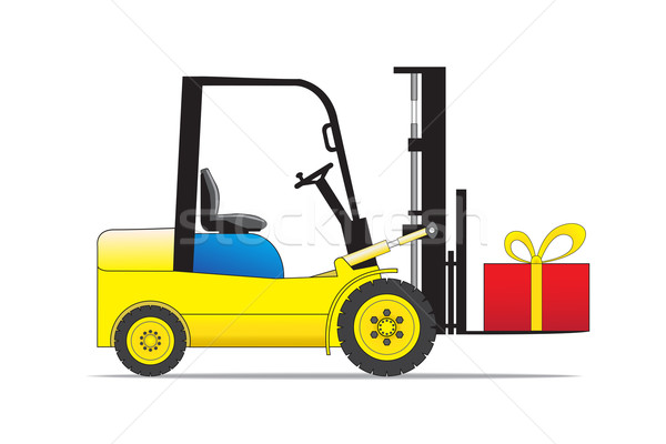 Stock photo: Forklift auto loader with present box.