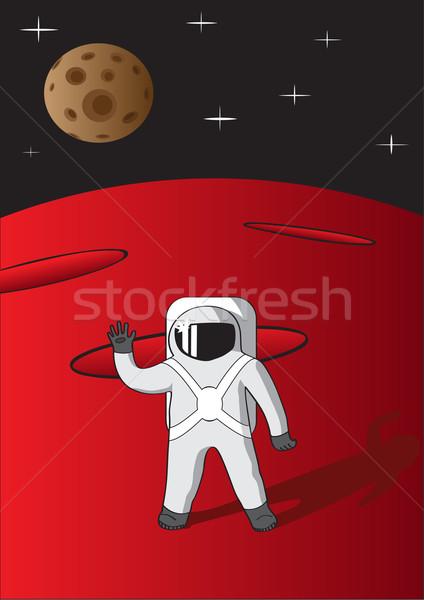 Vector illustration of cosmonaut on mars. Stock photo © tuulijumala