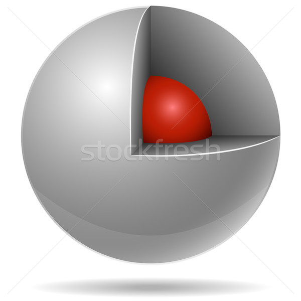 Cross section of white sphere with red one inside isolated on wh Stock photo © tuulijumala