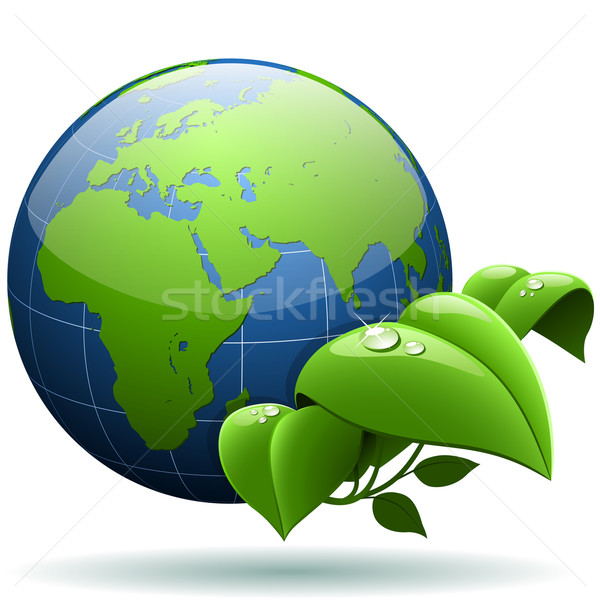Glossy Earth globe with green leaves isolated on white backgroun Stock photo © tuulijumala