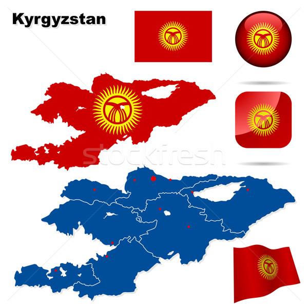Quirguistão vetor conjunto detalhado país forma Foto stock © tuulijumala