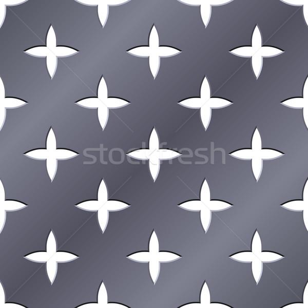 Cross perforated seamless steel plate vector illustration. Stock photo © tuulijumala