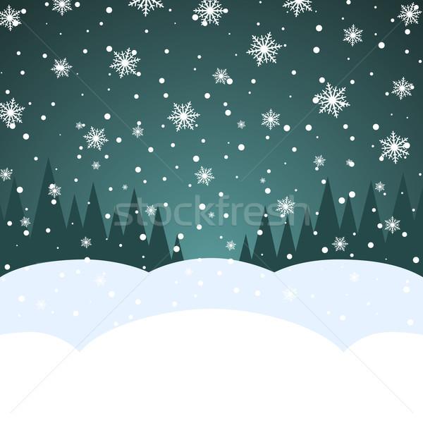 Absztrakt karácsony hóesés kártya vektor sablon Stock fotó © tuulijumala