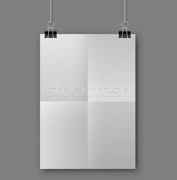 Gevouwen witte vel papier sjabloon opknoping Stockfoto © tuulijumala