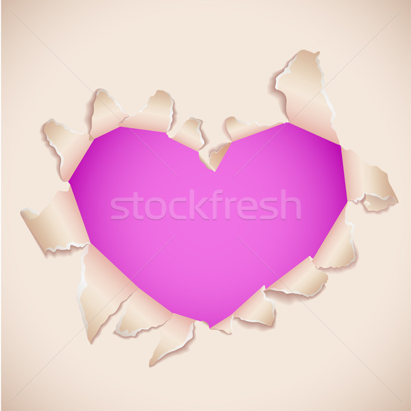 Heart shaped torn paper with pink copy space. Stock photo © tuulijumala