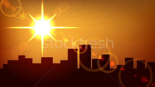 Stock fotó: Város · naplemente · vektor · eps10 · akta · égbolt