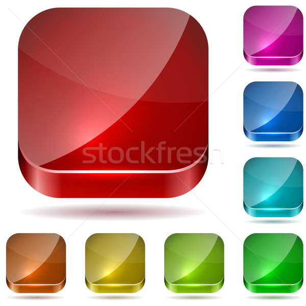Color rounded square glass buttons vector set Stock photo © tuulijumala