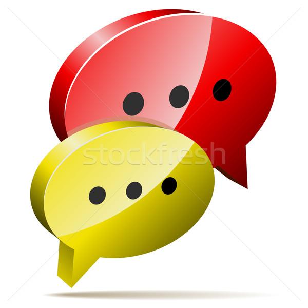 Piros citromsárga 3D szövegbuborékok blog chat Stock fotó © tuulijumala