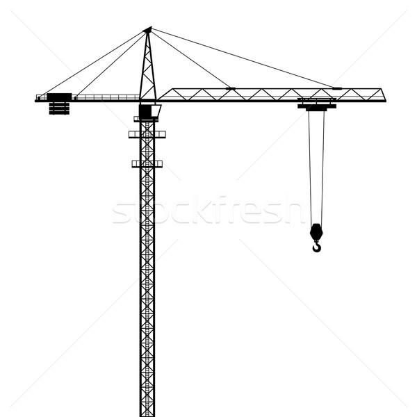 Stockfoto: Toren · kraan · vector · vorm · geïsoleerd · witte