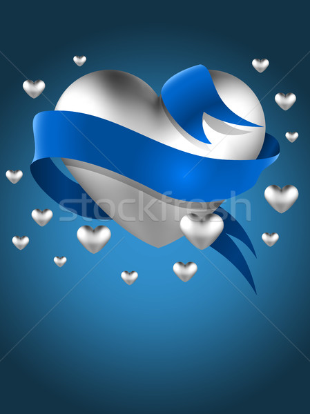Abstract silver heart with blue ribbon vector greeting card temp Stock photo © tuulijumala