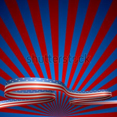 Red and blue sunburst vector background with blue ribbon.  Stock photo © tuulijumala