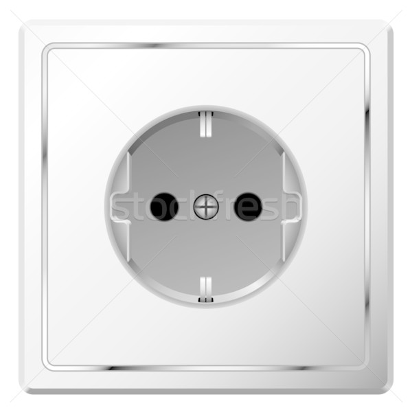 Realistic vector image of white electric wall outlet isolated on Stock photo © tuulijumala