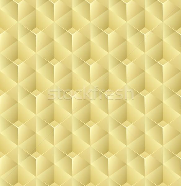 Seamless 3D yellow glass cubes vector pattern. Stock photo © tuulijumala