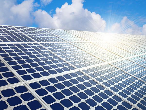 Rząd energia słoneczna jasne słońce refleksji migotać Zdjęcia stock © tuulijumala