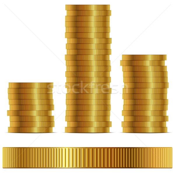 ストックフォト: コイン · サイド · ベクトル · テンプレート · 孤立した