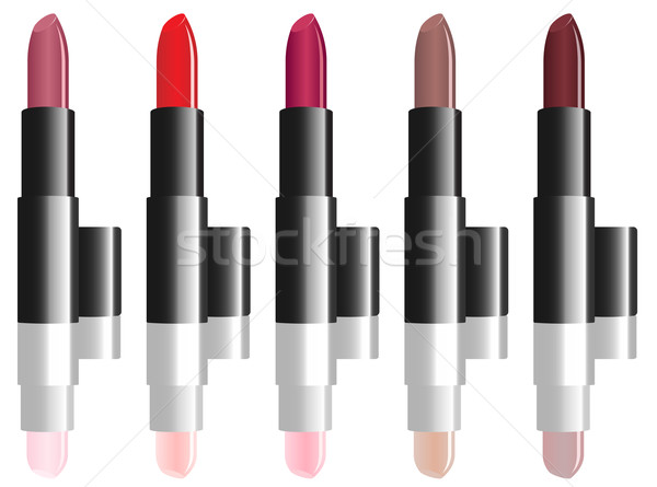 Vector illustration of varicolored lipstick set isolated on whit Stock photo © tuulijumala