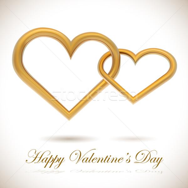 Two golden hearts linked together realistic vector illustration. Stock photo © tuulijumala