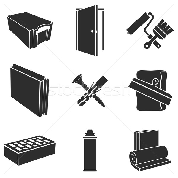 Building materials black and white vector set. Stock photo © tuulijumala