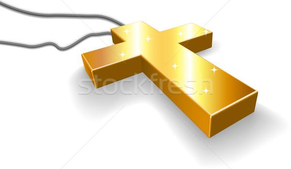 Dourado crucifixo isolado branco fundo jesus Foto stock © tuulijumala