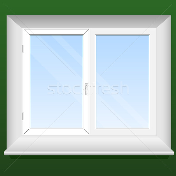 Vector illustration of a new pvc window with one opening leaf. Stock photo © tuulijumala