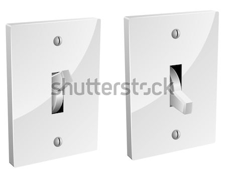 Electric switch in on and off mode isolated on white. Stock photo © tuulijumala