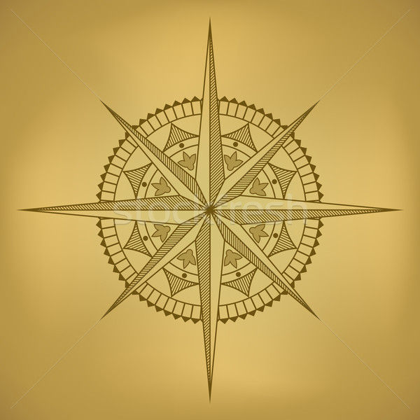 Traditional old-styled wind rose on ancient russet paper. Stock photo © tuulijumala