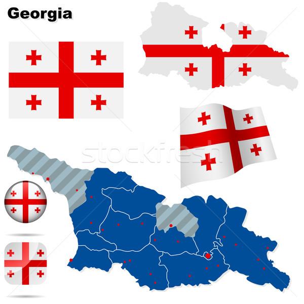 Сток-фото: Грузия · вектора · набор · подробный · стране · форма