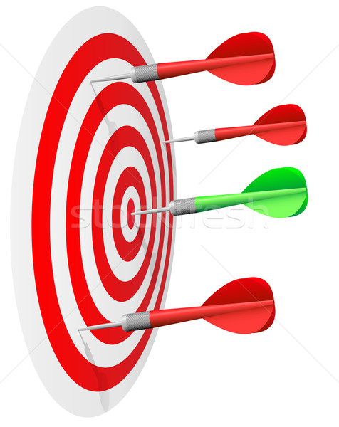 Dart's hit the bull's eye isolated on white background. Stock photo © tuulijumala