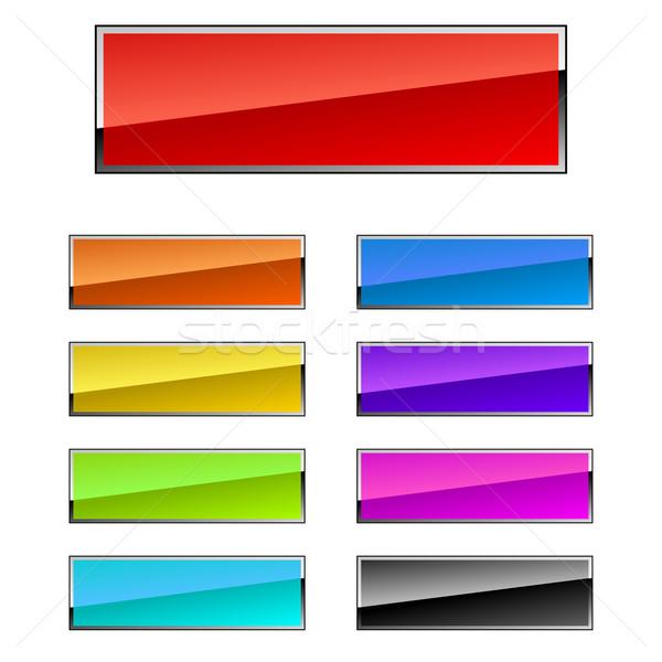 прямоугольный Кнопки красочный хром кадр дизайна Сток-фото © tuulijumala