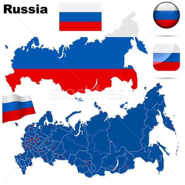 Russian Federation  vector set. Detailed country shape with regi Stock photo © tuulijumala