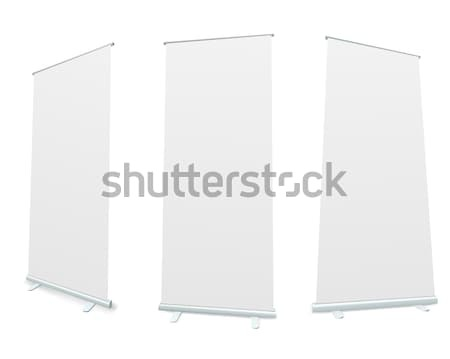 Roll-up blank white display realistic vector illustration. Stock photo © tuulijumala