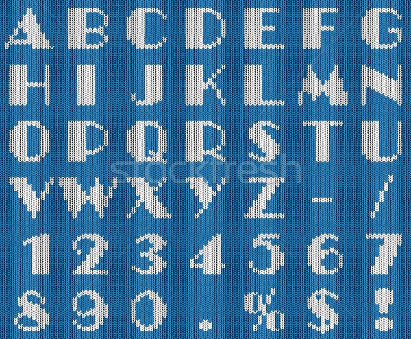 Açık mavi beyaz örgü yün kumaş alfabe Stok fotoğraf © tuulijumala
