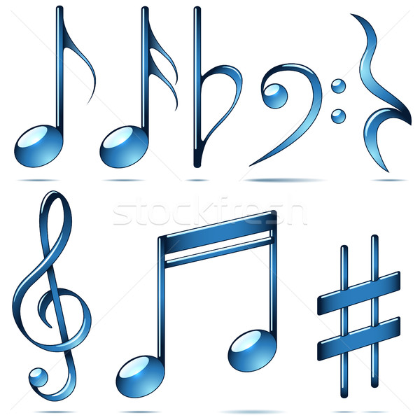 Music notation blue glass symbols. Stock photo © tuulijumala
