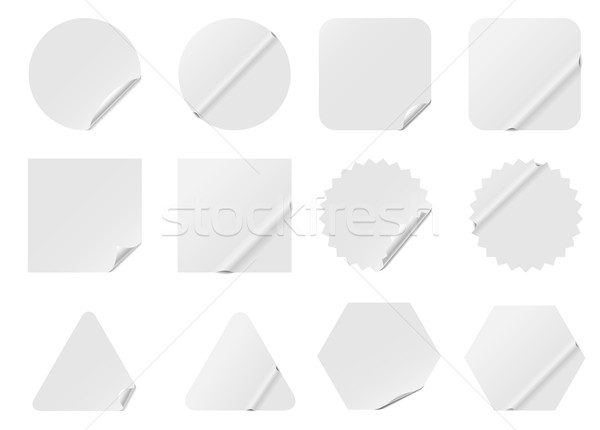 Blank white stickers isolated on white background. Stock photo © tuulijumala