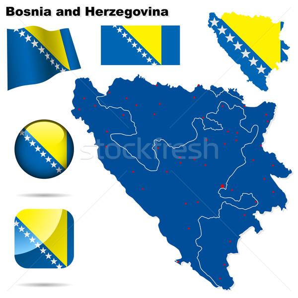 Bosnia Herzegovina vector establecer detallado país forma Foto stock © tuulijumala