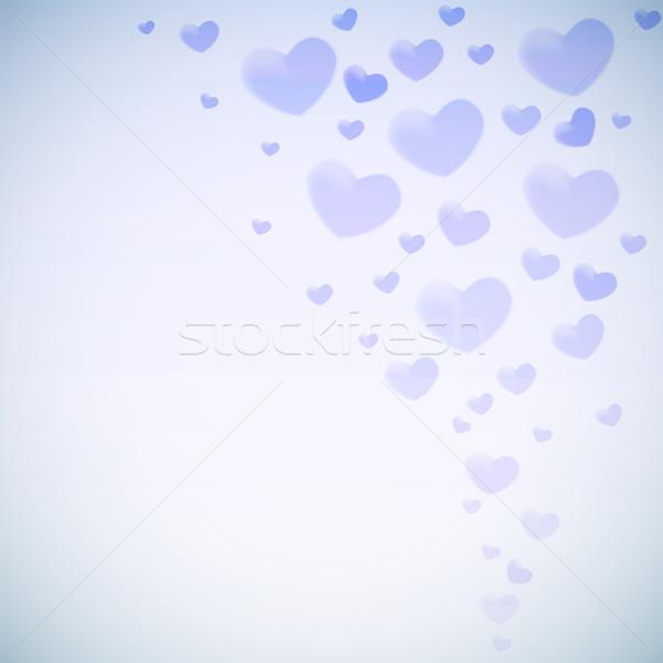 Valentine's card with glowing blue heart shapes. Stock photo © tuulijumala