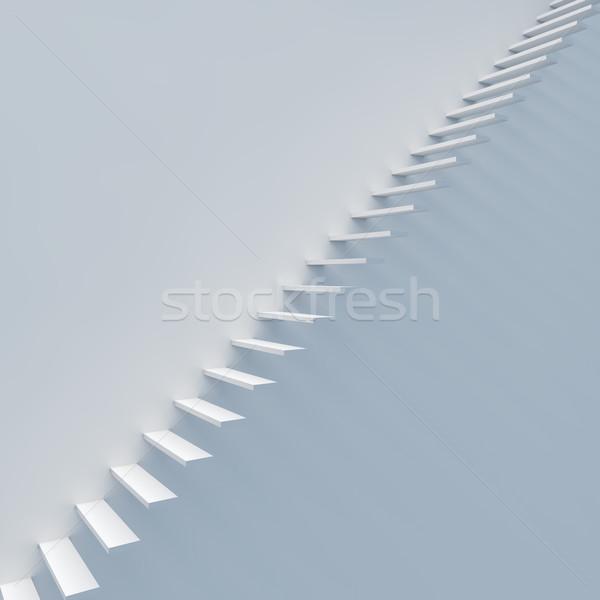 Abstract witte trappenhuis muur 3d render business Stockfoto © tuulijumala