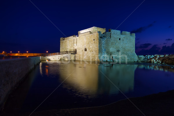 Illuminated Paphos Castle at night, Cyprus. Stock photo © tuulijumala
